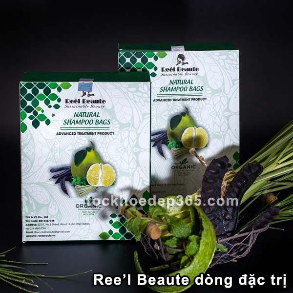 túi lọc gội đầu thiên nhiên reel beaute dòng đặc trị cho tóc hư tổn