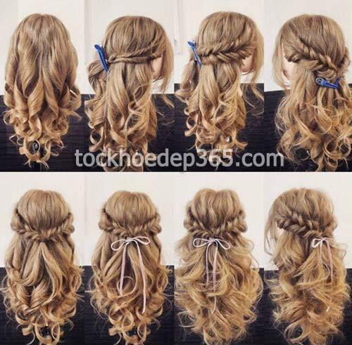 mẫu tết tóc cực đẹp cho bé gái có tóc dài