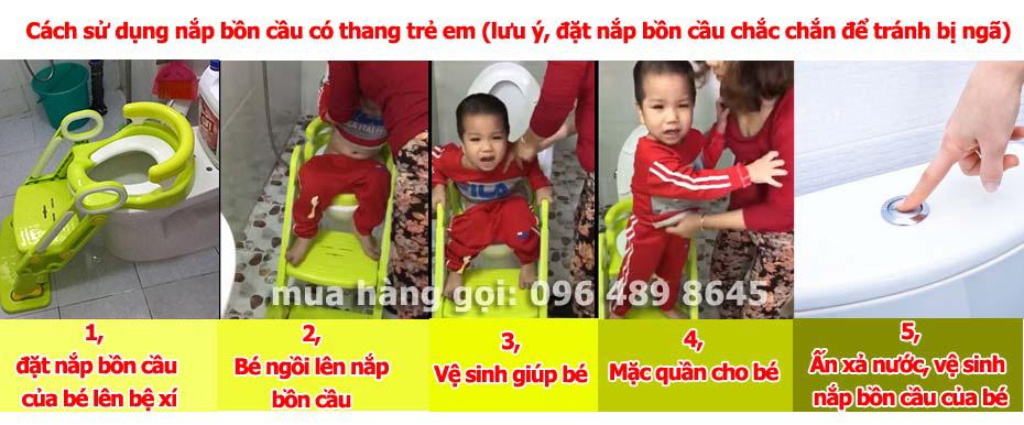 hướng dẫn cách sử dụng lắp bồn cầu có thang cho bé